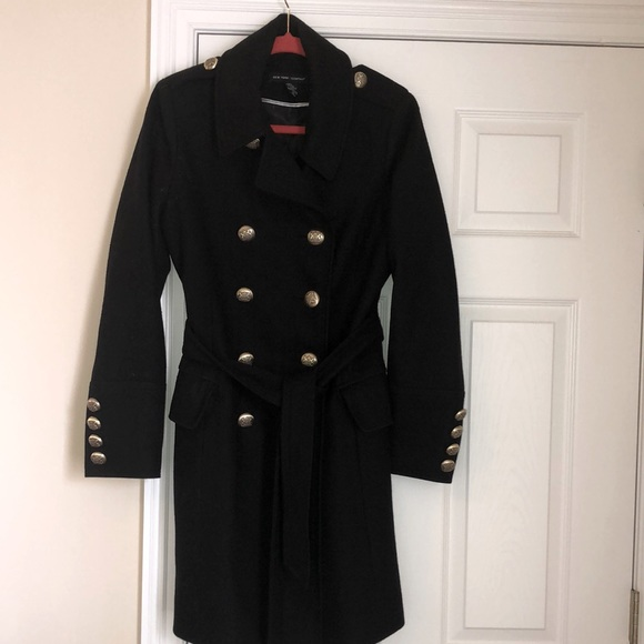 60%wool black trench coat size m